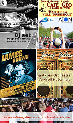 illustration de À La Rochelle : café géo, Dj set, Dub oriental, Soul, danses latinos à l'Aiôn du 8 au 11 décembre 2016