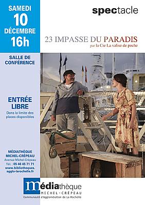 illustration de Théâtre à la médiathèque de La Rochelle : 23 impasse du Paradis, samedi 10 décembre 2016 à 16h