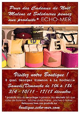 illustration de La Rochelle : ID cadeaux solidaires en matières recyclées chez Echo-Mer, ouverture amplifiée décembre 2016