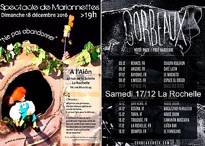 illustration de Week-end à La Rochelle : concerts samedi, marionnettes dimanche à l'Aiôn, les 17 et 18 décembre 2016