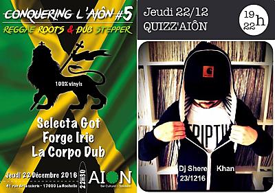 illustration de À La Rochelle : quiz, dj sets reggae roots dub et rap 90's chez Aiôn les 22 et 23 décembre 2016