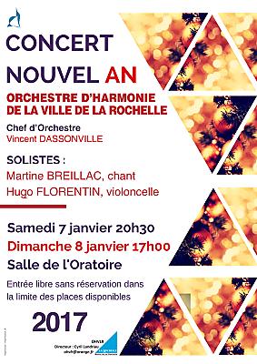 illustration de Concerts du Nouvel An à La Rochelle avec l'Orchestre d'harmonie de la ville, samedi 7 et dimanche 8 janvier 2017