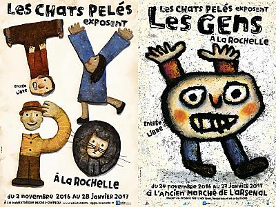illustration de Les Chats Pelés exposent à La Rochelle : Les Gens à l'Arsenal et Typo à la médiathèque jusqu'à fin janvier 2017