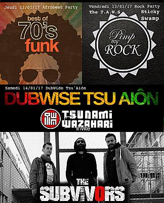 illustration de Dj's sets et live à La Rochelle : afrobeat, rock party, dub avec Tsu et The Subvivors les 12, 13 et 14 janvier 2017