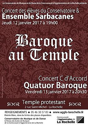 illustration de Concerts baroques au Temple de La Rochelle : jeudi 12 et vendredi 13 janvier 2017