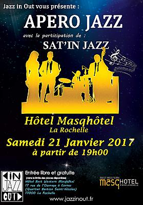 illustration de Jazz à La Rochelle : premier apéro-concert Jazz In Out au Masqhôtel, samedi 21 janvier 2017 à 19h