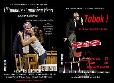 illustration de Théâtre à La Rochelle : 2 pièces du t2t à l'Espace B. Giraudeau entre le 21 et le 29 janvier 2017