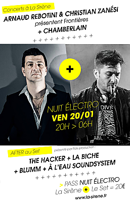 illustration de Nuit électro à La Rochelle : Arnaud Rebotini & Christian Zanési à La Sirène ; after au Set, ven. 20 janvier 2017