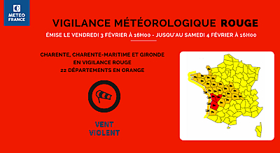 illustration de Alerte météo La Rochelle Charente-Maritime : annulations et reports, tempête LEIV, vend. 2 et samedi 3 février 2017