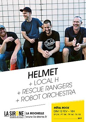illustration de Rock & Metal à La Rochelle : Helmet  ; Local H ; Rescue Rangers et Robot Orchestra à La Sirène, dimanche 12 février 2017 à 18h !