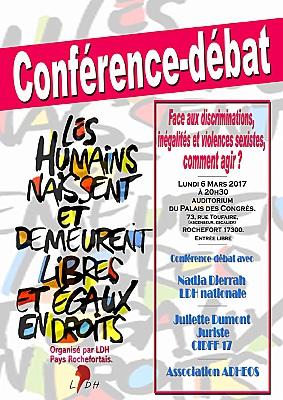 illustration de Conférence-débat LDH à Rochefort : discriminations, inégalités et violences sexistes, comment agir ? Lundi 6 mars 2017