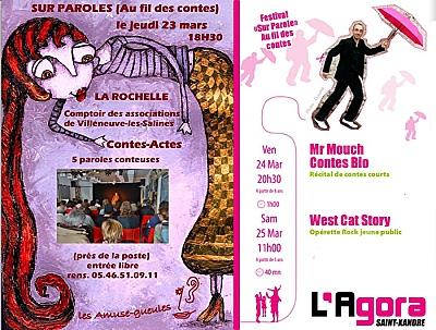illustration de Festival au fil des contes : jeudi 23 mars 2017 à La Rochelle ; les 24 et 25/03 à Saint-Xandre