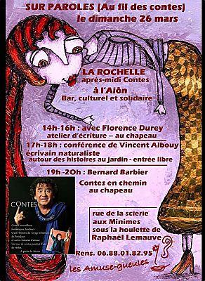 illustration de Au fil des contes à La Rochelle : festival Sur Paroles à l'Aiôn, dimanche 26 mars de 14h à 19h