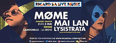 illustration de Révélations Ricard S.A Live Music à La Rochelle : Møme, Mai Lan et Lysistrata à La Sirène, jeudi 4 mai 2017
