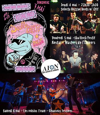 illustration de Musique(s) à l'Aiôn : set reggae dub, ska et rock festif, chansons festives et punk du 4 au 7 mai 2017 !