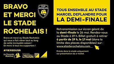 illustration de La Rochelle rugby : le Stade Rochelais en demi-finale de Top 14, retransmission à Deflandre, vendredi 26 mai 2017