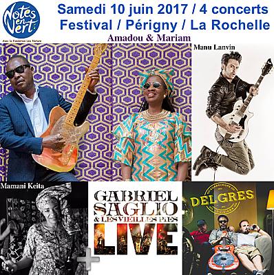 illustration de Notes en Vert à la Rochelle Périgny : Amadou et Mariam ; Manu Lanvin ; Mamani Keita et plus ! Samedi 10 juin 2017