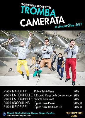 illustration de La Rochelle, Marsilly, Angoulins, île de Ré :  Tromba Camerata, quintet de trompettes au programme insolite du 25 au 31 juillet 2017