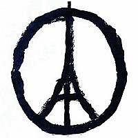 Photo  de © Peace for Paris, dessin de Jean Jullien que nous remercions.