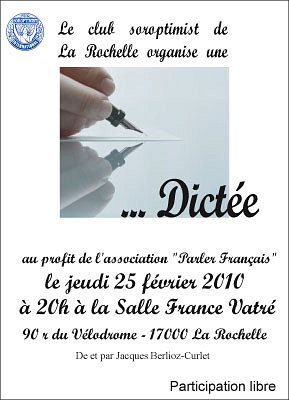 Photo : Dictée solidaire à La Rochelle jeudi 25 février 2010