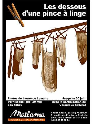 Photo : La Rochelle - expo : Les dessous d'une pince à linge chez Matlama mai-juin 2010