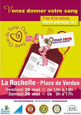 Photo : La Rochelle : mon sang pour les autres, vend. 28 et sam. 29 mai 2010