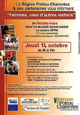 Photo : Rochefort - emploi : Femmes, osez d'autres métiers, jeudi 14 octobre 2010