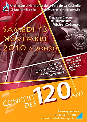 Photo : La Rochelle : concert des 120 ans de l'OHVLR, samedi 13 novembre 2010
