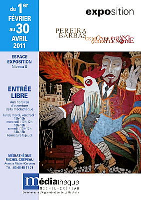Photo : La Rochelle - exposition : Claude Pereira - Barbas � la m�diath�que Michel-Cr�peau