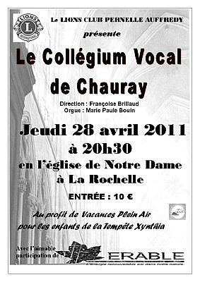 Photo : La Rochelle, le Collegium vocal de Chauray en concert, jeudi 28 avril 2011