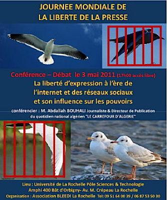 Photo : La Rochelle : conférence d'Abdallah Bouhali, journée de la liberté de la presse, mardi 3 mai 2011