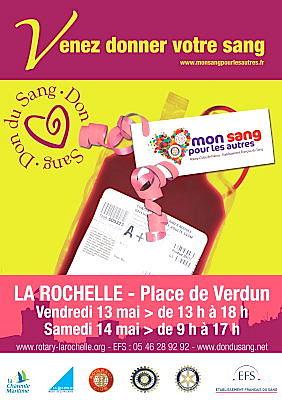 Photo : La Rochelle : Mon sang pour les autres, vend. 13 et sam. 14 mai 2011