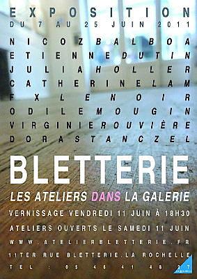 Photo : La Rochelle exposition : expositions et ateliers ouverts à la galerie Bletterie du 7 au 25 juin 20