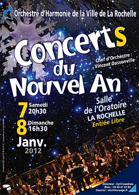 Photo : La Rochelle : concerts du Nouvel An de l'orchestre d'Harmonie, sam. 7 et dim. 8 janvier 2012