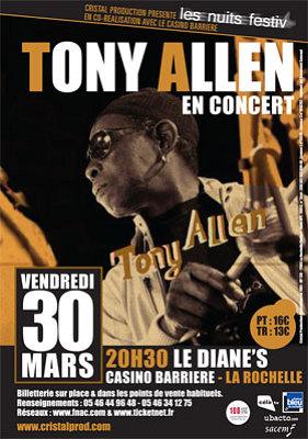 Photo : La Rochelle - Concert événement : Tony Allen au Diane's - Casino Barrière, vendredi 30 mars 2012