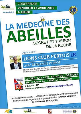 Photo : La Rochelle Lions Club : la médecine des abeilles, conférence à La Rochelle, vendredi 13 avril 2012