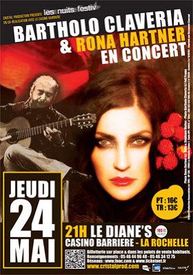 Photo : La Rochelle concert : Rona Hartner et Bartholo Claveria, Diane's Casino Barrière, jeudi 24 mai 2012