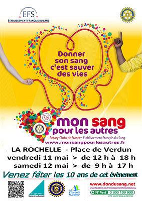 Photo : Mon sang pour les autres : don du sang place de Verdun à La Rochelle, vend. 11 - sam. 12 mai 2012