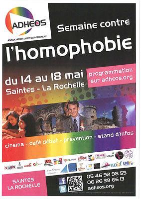 Photo : La Rochelle - Saintes : semaine contre l'homophobie avec Adhéos du 14 au 18 mai 2012