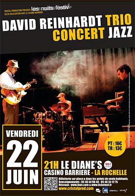Photo : Jazz à La Rochelle : David Reinhardt Trio au Diane's - Casino Barrière, vendredi 22 juin 2012