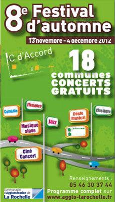 Photo : La Rochelle Agglo : Festival d'Automne, 18 concerts gratuits du 13 nov. au 5 déc. 2012