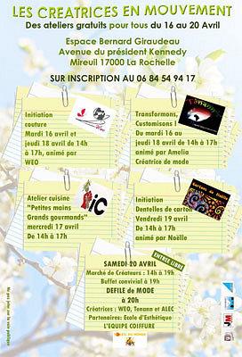 Photo : La Rochelle - Mireuil : créatrices en mouvement du mardi 16 au samedi 20 avril 2013