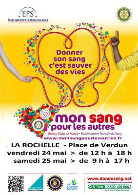 Photo : Don du sang à La Rochelle : Mon sang pour les autres, mobilisation vend. 24 et sam. 25 mai 2013