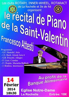 Photo : La Rochelle : récital de piano de Francesco Attesti, vendredi 14 février 2014 à 18h30