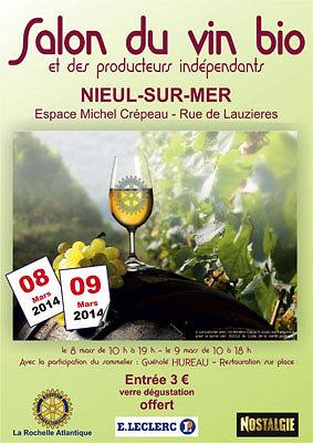 Photo : La Rochelle Agglo : Salon du vin bio à Nieul-sur-Mer 8 et 9 mars 2014