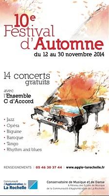 Photo : Agglomération de La Rochelle : 10e Festival musical d'Automne du 12 au 30 novembre 2014