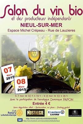 Photo : La Rochelle Agglo : Salon du vin bio à Nieul-sur-Mer, samedi 7 et dimanche 8 mars 2015