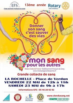 Photo : Don du sang à La Rochelle : Mon sang pour les autres, mobilisation vend. 22 et samedi 23 mai 2015
