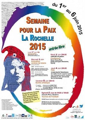 Photo : Semaine pour la Paix à La Rochelle du 1er au 6 juin 2015