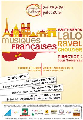 Photo : La Rochelle, St-Maixent, Châtelaillon : concerts symphoniques Sortilège 24, 25 et 26 juillet 2015